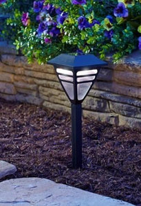 "Fairview Black Plastic Path Solar Light 10.7"" ON SALE"
