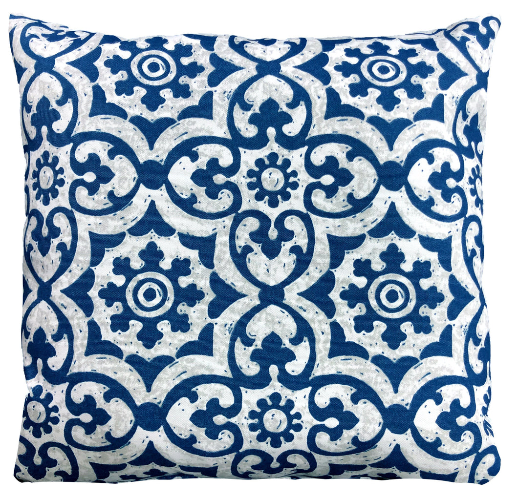 Blue And White Swirl Outdoor Pillow 16 x 16