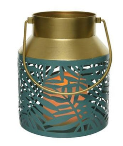 "Leaf Lantern with LED Candle - 5.9"" x 6.9"""