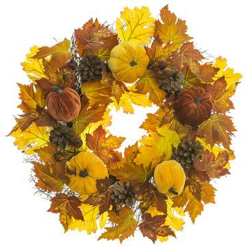 PUMPKIN ROSEHIP CONE WREATH