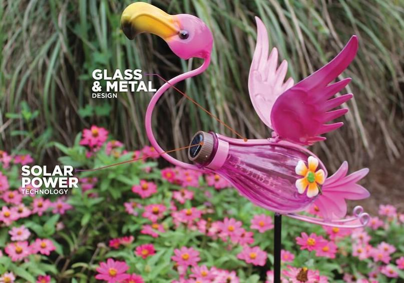 Bottle Flamingo Solar Stake Light 15.8
