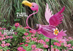 "Bottle Flamingo Solar Stake Light 15.8"" ON SALE"