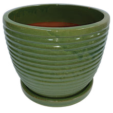 "Load image into Gallery viewer, Rippled Egg Pot with Saucer 7"" Diameter"