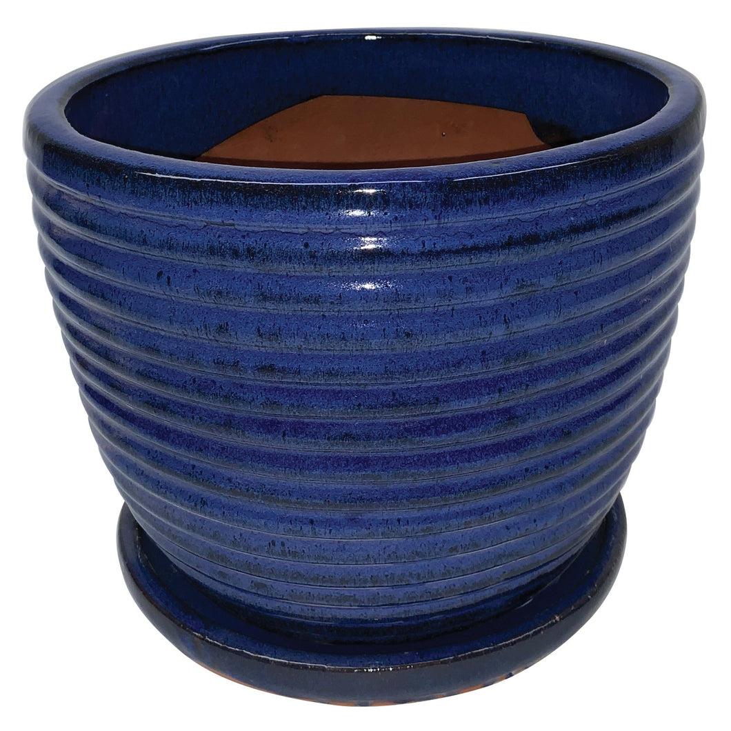 Rippled Egg Pot with Saucer 12.25
