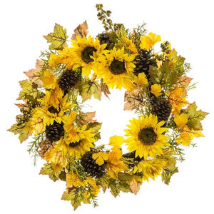 SUNFLOWER PINECONE BERRY WREATH