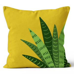 "Tropical Snake Plant Graphic Green Indoor Pillow 17"" x 17"""