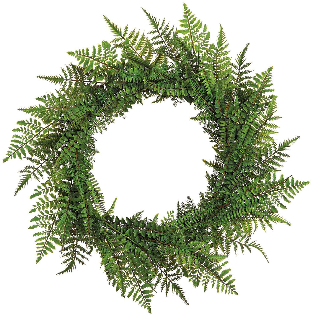 Mixed Fern Wreath 30