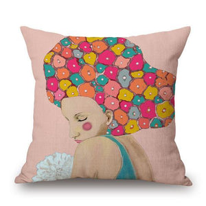 "Women with Flowers Indoor Pillow 18"" x 18"""
