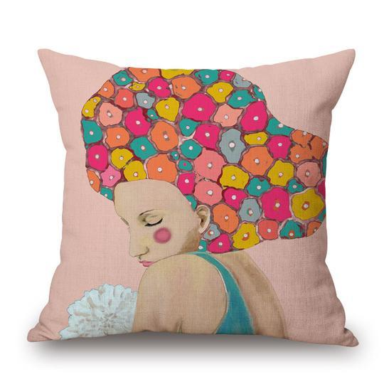 Women with Flowers Indoor Pillow 18