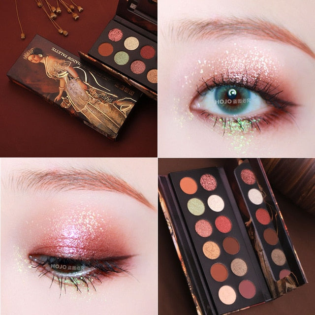 HOJO 12 Color Aristocratic Painting Eye Shadow Palette Glitter Shimmer Matte Eyeshadow Waterproof Pigmented Powder Beauty Makeup