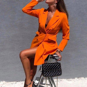 Women Chic Black Orange Blazer Jacket Pockets Double Breasted Blazers Jackets Female 2020 Spring Office Lady Wear Coat Feminino
