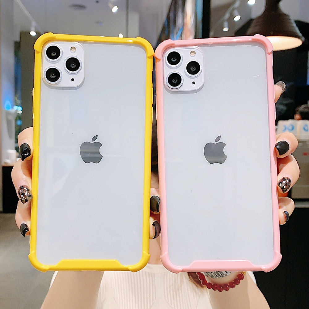 Candy Color Transparent Shockproof Phone Case For iPhone 11 Pro Max XR X XS Max 7 8 6S Plus Case Soft Acrylic Phone Cover Bag