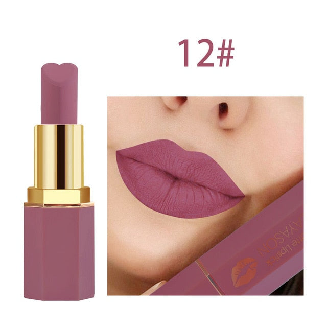 TEAYASON Matte Matte Long-lasting Non-stick Cup Lipstick Rose Bean Color Grapefruit Red Heart-shaped Hexagonal Lipstick TSLM1