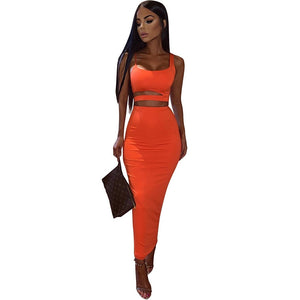 women solid color strapless hollow out crop top high waist elastic skinny long skirts two pieces set female fashion outfit