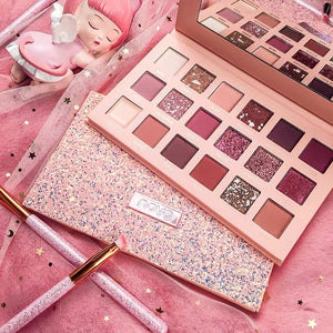 NOVO Matte Pearlescent Radiant Glitter Nude Eye Shadow Palette 18 Colors Shimmer Pigment Eye Shadow Easy to Wear Beauty  Makeup