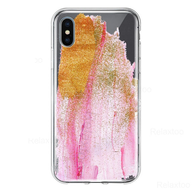 Fashion paint case For iphone 6 7 8 plus X soft painted painting cover on the For apple iphone x xs max xr colorful coque funda