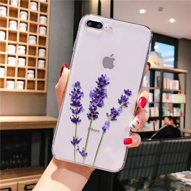Yinuoda Simple Lavender Purple Flowers  Coque Shell Phone Case for iPhone 8 7 6 6S Plus X XS MAX 5 5S SE XR 11 pro max
