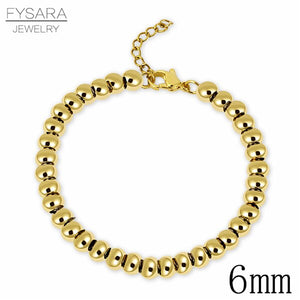 FYSARA Gold Color Filled Stainless Steel Ball Beads Bracelets Women Men Jewelry 4/6/8mm Beaded Strand Bracelets Custom Wholesale