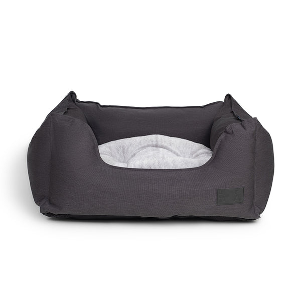 Water Resistant Charcoal High Side Square Pet Bed