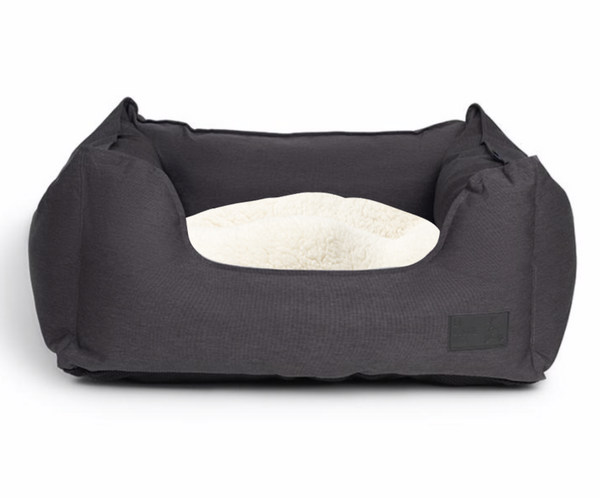 Water Resistant Charcoal High Side Square Bed with Cream Faux Fur Trim