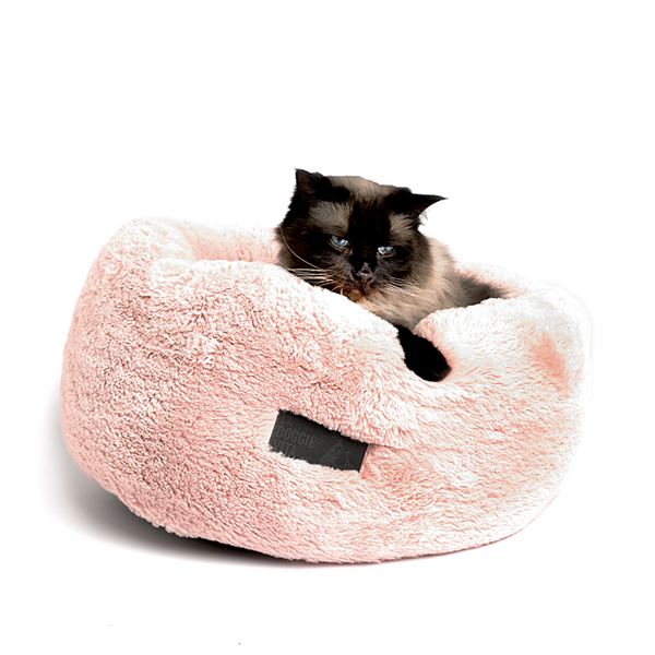 Donut Plush Cat Bed - Pink
