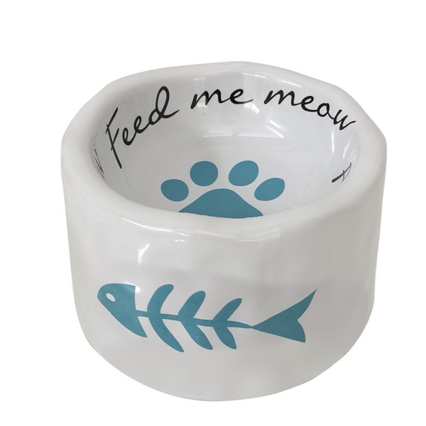 Feed Me Meow Ceramic Cat Bowl - Fish