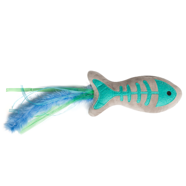 Gone Fishin' Plush Cat Toy With Feather and Bell