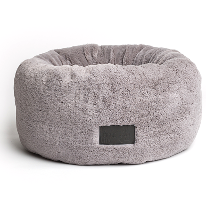 Grey Donut Plush Cat Bed