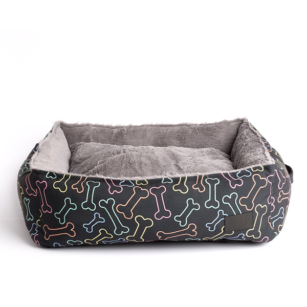 Neon Bone Black Water Resistant Square Bed