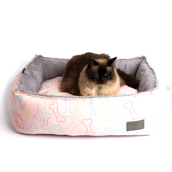 Neon Bone Water Resistant Square Pet Bed - Pink