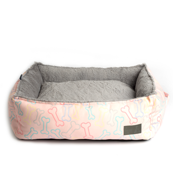 Neon Bone Pink Water Resistant Square Bed