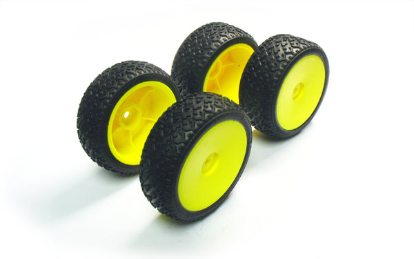 Pre-glued YP308RS Yellow Wheel & Tyre Set (x4)