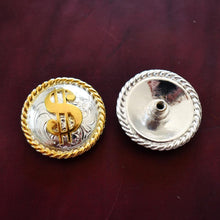 "Load image into Gallery viewer, 1.5"" Bright Silver and Gold Dollar Sign Conchos"