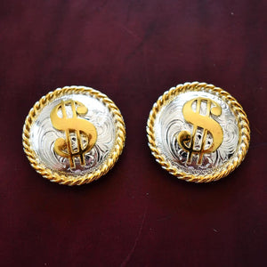 "1.5"" Bright Silver and Gold Dollar Sign Conchos"