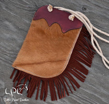 Load image into Gallery viewer, Brown and White Cowhide and Sunflower Tooled Chap Bag