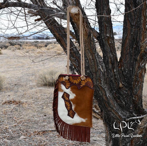 Brown and White Cowhide and Sunflower Tooled Chap Bag