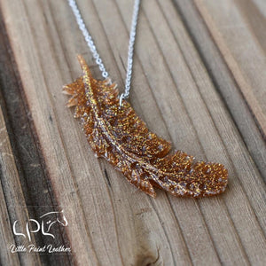 Golden Glittery Feather Necklace