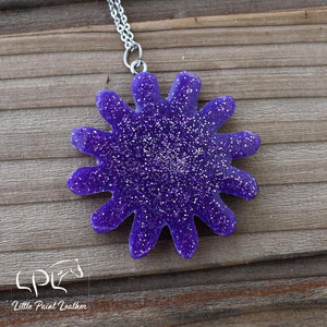 Purple Glittery Spur Rowel Necklace