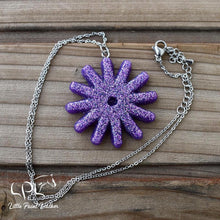 Load image into Gallery viewer, Purple Glittery Spur Rowel Necklace