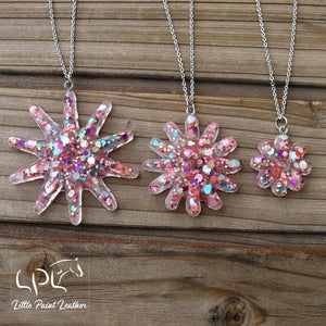 Chunky Glitter Spur Rowel Necklaces