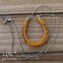 Load image into Gallery viewer, Gold Glittery Horseshoe Necklace