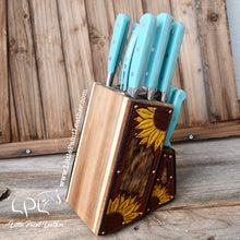 Load image into Gallery viewer, Sunflower Tooled Dark Leather and Brindle Cowhide Turquoise Knife Block Set