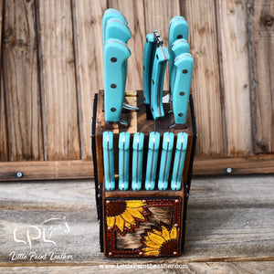 Sunflower Tooled Dark Leather and Brindle Cowhide Turquoise Knife Block Set