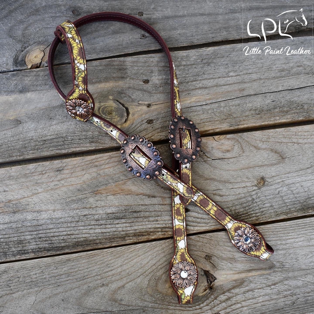 Sunflower Print Headstall