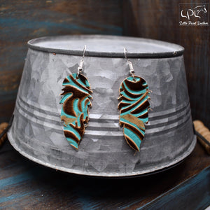Turquoise Swirl Leather Earrings