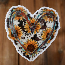 Load image into Gallery viewer, Sunflower Cowhide Heart Sticker