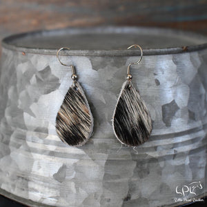 Black/White Hair on Cowhide Small Teardrop Earrings