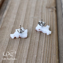 Load image into Gallery viewer, Brown and White Cow Earrings