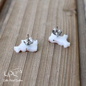 Brown and White Cow Earrings
