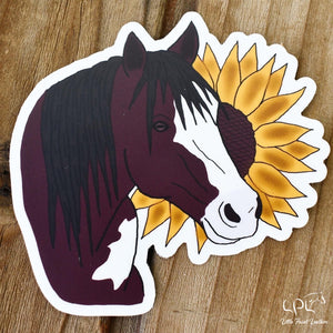Bay Paint Horse and Sunflower Sticker